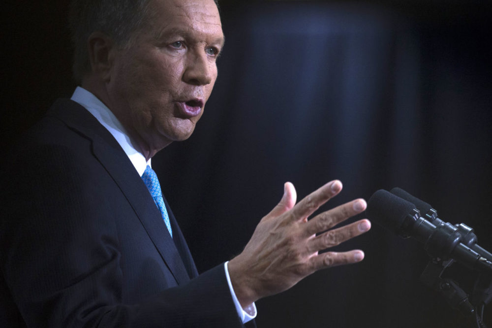 Ohio Gov. John Kasich announces he is running for the 2016 Republican party''s nomination for president during a campaign rally at Ohio State University on Tuesday. (John Minchillo/AP)