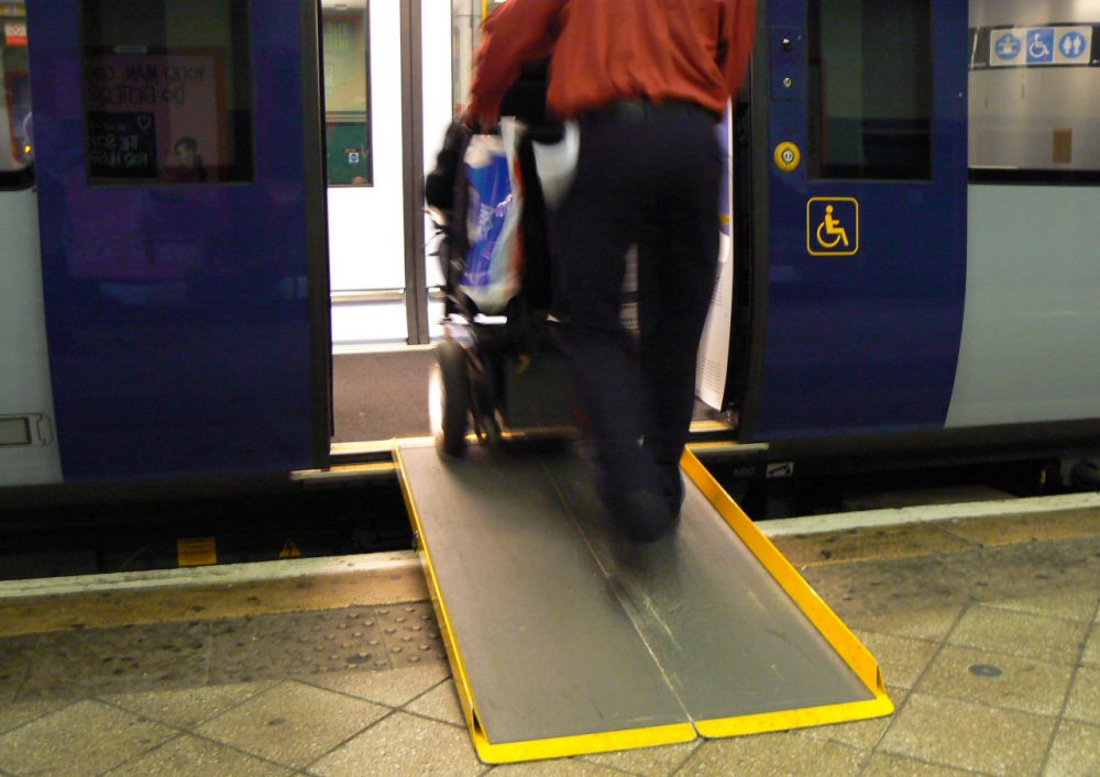 Many aspects of the Americans with Disabilities Act are visible, such as wheelchair ramps and braille. (ewheeling/Flickr)