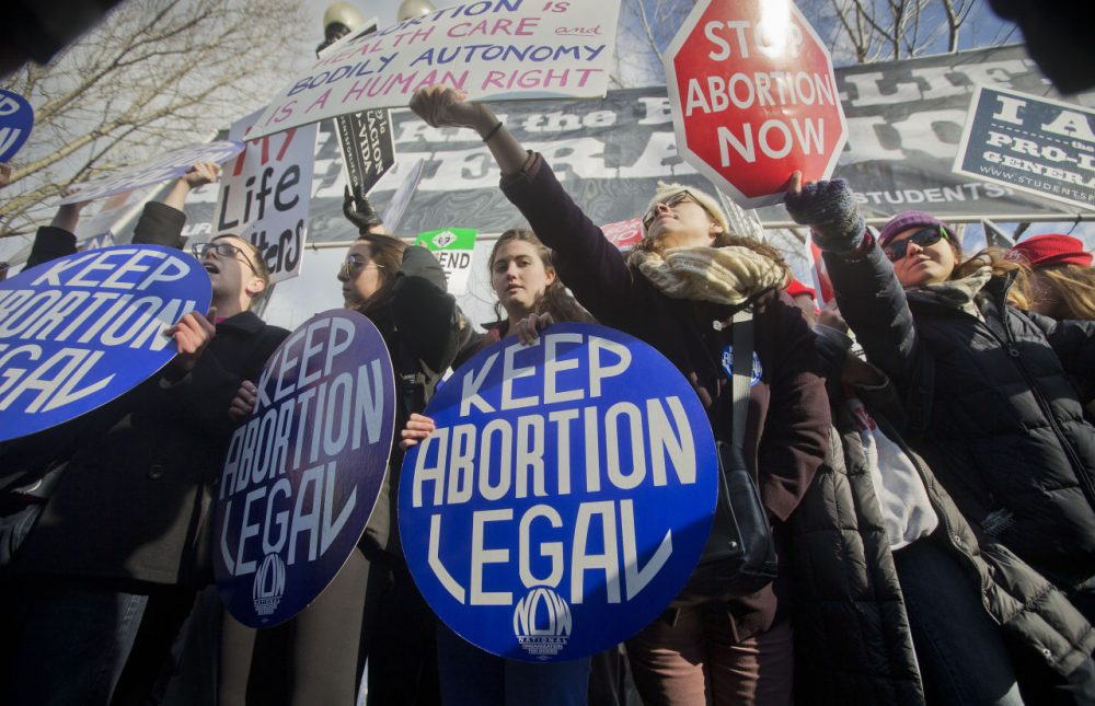 Pro-life and anti-abortion demonstrators converge in front of the Supreme Court in Washington Jan. 22, 2015. (Pablo Martinez Monsivais/AP)