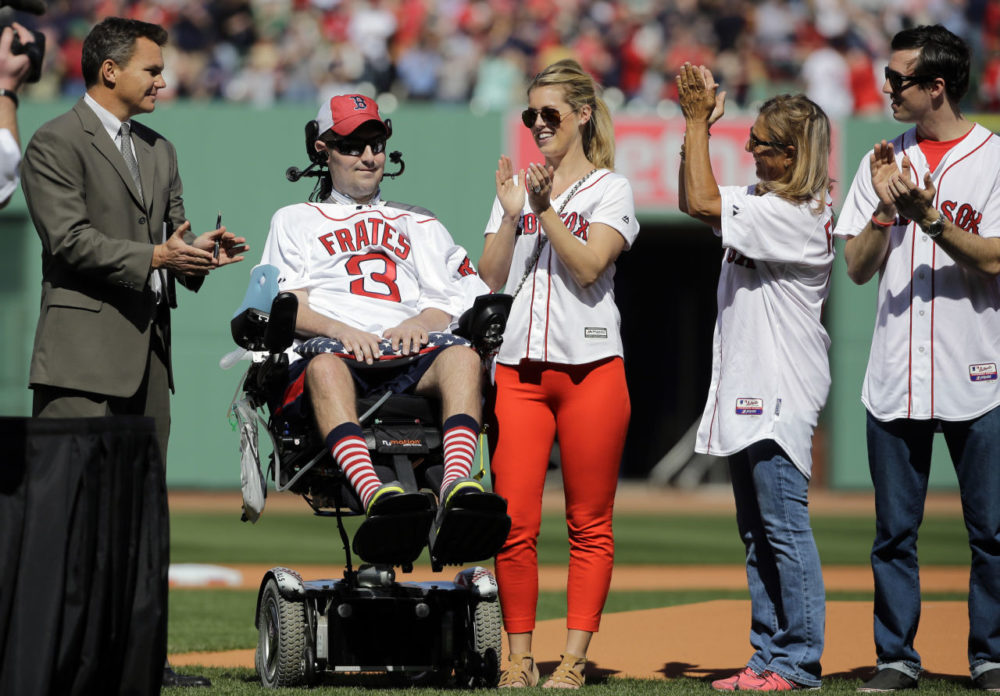 Pete Frates, pictured at the Red Sox home opener in 2016, has died of ALS. (Elise Amendola/AP)
