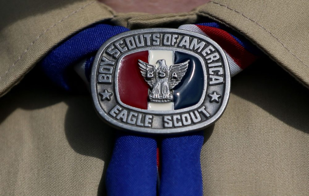 A detail view of a Boy Scout uniform in Irving, Texas. (Tom Pennington/Getty Images)