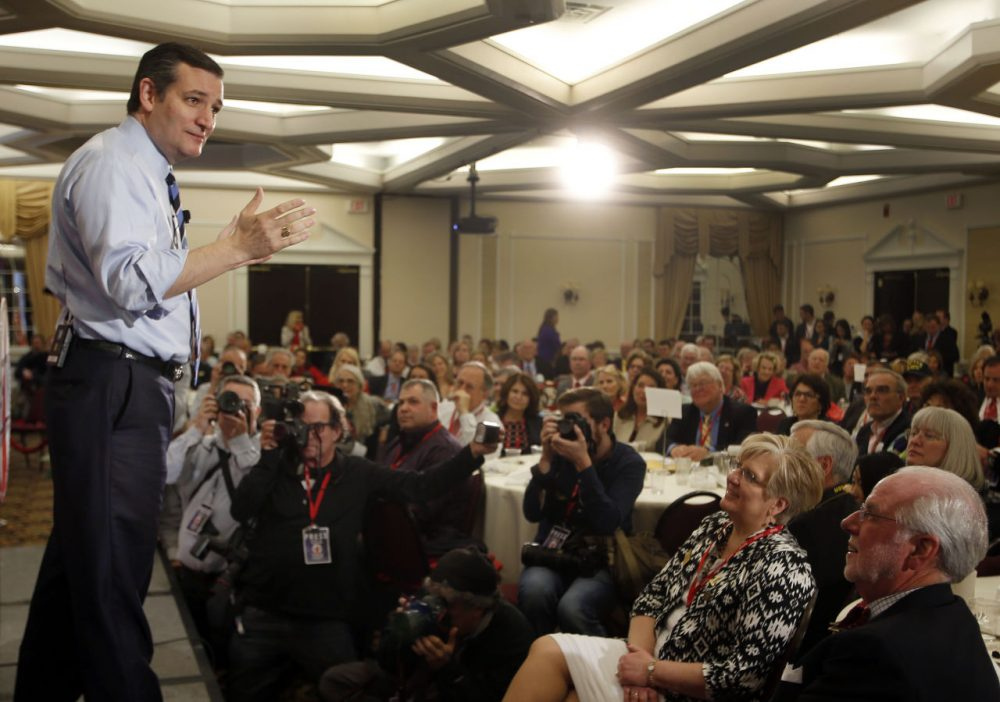 When Republican candidates are not in New Hampshire, they often show off their socially conservative credentials. Not so much in the Granite State. Here, GOP presidential hopeful Ted Cruz, a Texas senator, speaks at the Republican Leadership Summit on April 18 in Nashua, N.H. (Jim Cole/AP)