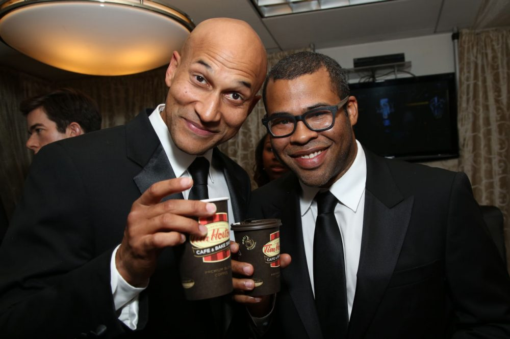 Actors Keegan-Michael Key, left, and Jordan Peele in Backstage Creations Suites at the 66th Primetime Emmy Awards at the Nokia Theatre L.A. Live on Monday, Aug. 25, 2014, in Los Angeles. (Omar Vega/Invision for Backstage Creations/AP)