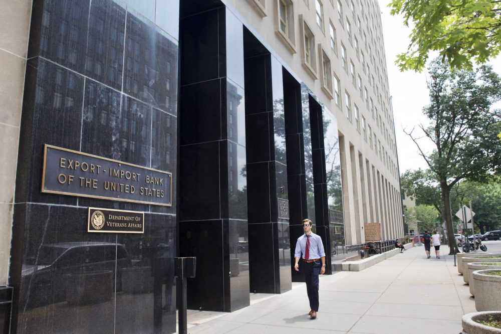A man walks past the Export-Import Bank of the United States, Tuesday, July 28, 2015, in Washington. (Jacquelyn Martin/AP)