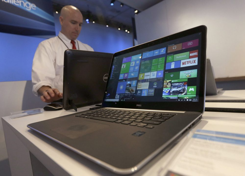 A Dell laptop computer running Windows 10 on display at the Microsoft Build conference in San Francisco. (Jeff Chiu/AP)