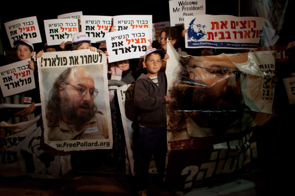 Israelis protest against U.S. President Barack Obama as they call for the release of Jonathan Pollard, a Jewish American who was jailed for life in 1987 on charges of spying on the United States, during a demonstration outside the Israeli President's residence on March 19, 2013 in Jerusalem, Israel. (Uriel Sinai/Getty Images)