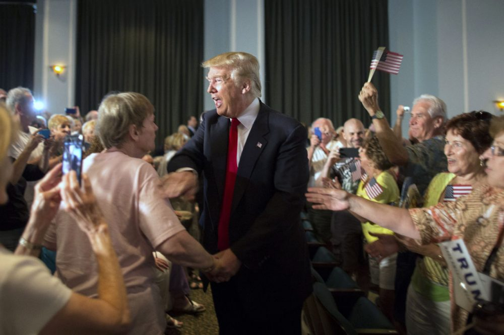Republican presidential hopeful Donald Trump greets supporters at a South Carolina campaign rally in Bluffton, S.C., on July 21, 2015. (Stephen B. Morton/AP)