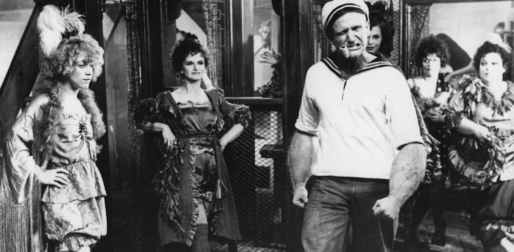 "Robin Williams as the titular character in Robert Altman's 1980 ""Popeye."" (Courtesy Harvard Film Archive)"