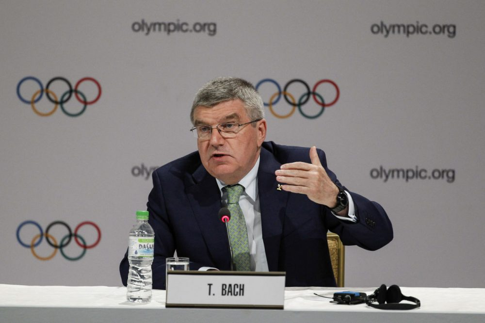 International Olympic Committee President Thomas Bach speaks during a press conference in Kuala Lumpur, Malaysia, on Wednesday. (Joshua Paul/AP)