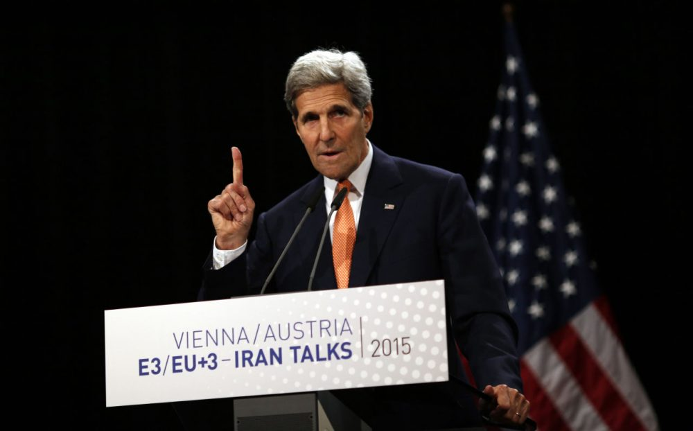 U.S. Secretary of State John Kerry, a former Massachusetts U.S. senator, delivers a statement on the Iran nuclear deal at the Vienna International Center on Tuesday. (Carlos Barria/ Pool/AP)