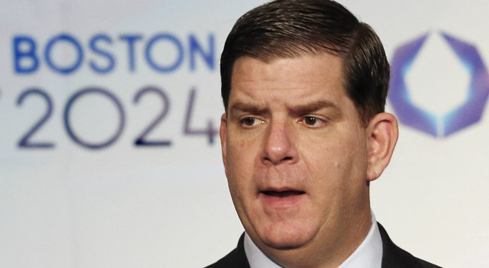 In this Jan. 9, 2015, file photo, Boston Mayor Martin Walsh speaks during a news conference in Boston after the city was picked by the USOC as its bid city for the 2024 Olympic Summer Games. Walsh said Monday, July 27, 2015, he won't sign a host city contract, which is key to the city's bid, without more assurances that taxpayers won't foot the bill. (Winslow Townson/AP)