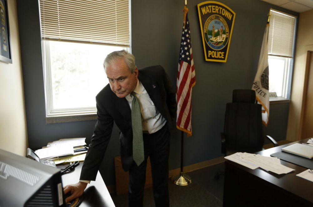 Ed Deveau, Watertown, Mass. police chief, stands in his office. (AP Photo/Steven Senne)