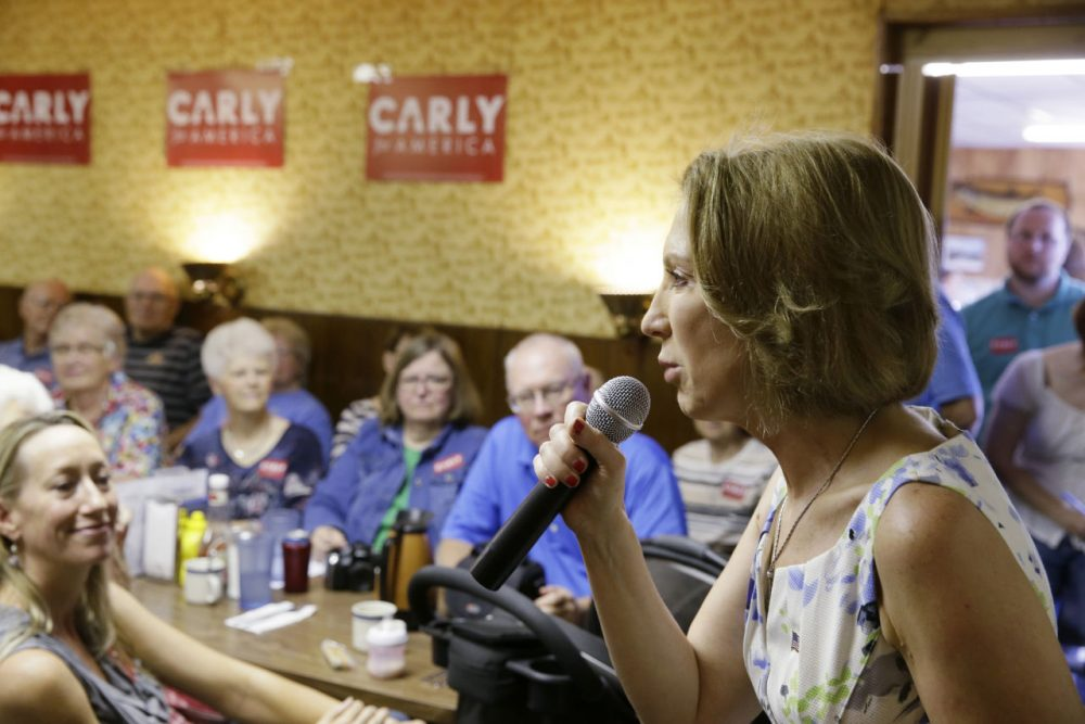 Republican presidential candidate Carly Fiorina speaks to local residents during a meet and greet at Cecil's Cafe, Thursday, July 23, 2015, in Marshalltown, Iowa. (AP Photo/Charlie Neibergall)