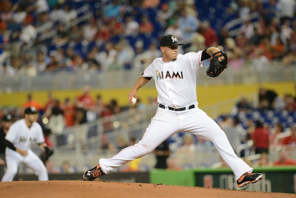 Jose Fernandez has been perfect at Marlins Park in Miami. But away from South Beach, the righty has struggled. (Jason Arnold/Getty Images)