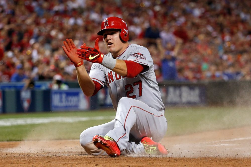 """Mike Trout has been the MVP of the last two All-Star games. What would have happened if he didn't play?  Charlie Pierce and Bill Littlefield discuss in """"The Week in Sports."""" (Rob Carr/Getty Images)"""