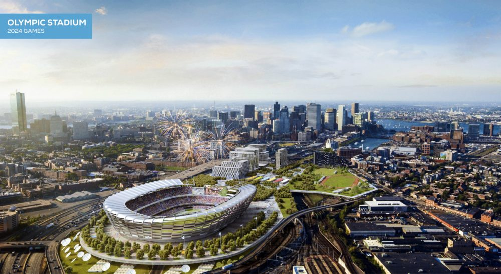 """Jean Horstman: """"Every aspect of Boston's Olympic bid should be predicated on the intent to build a city that offers greater opportunity for everyone."""" Pictured: This architect's rendering released Monday, June 29, 2015, by the Boston 2024 planning committee shows an Olympic stadium that is proposed to be built in Boston if the city is awarded the Games. The Boston group trying to land the Olympics released the most detailed look yet at its bid for the Summer Games, unveiling a $4.6 billion plan it says would create jobs and housing, expand the tax base and leave behind an improved city with a $210 million surplus. (Elkus Manfredi Architects for Boston 2024/AP)"""