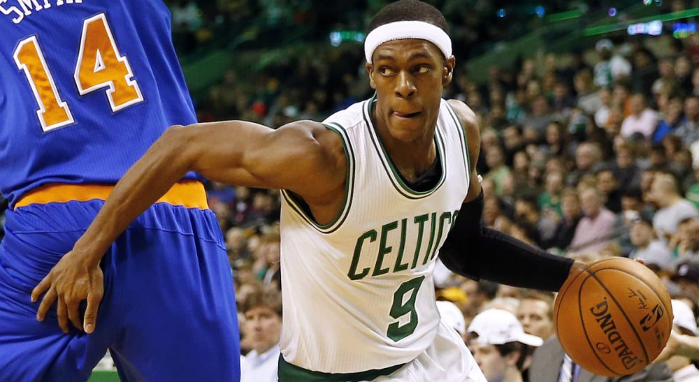 """Peter May: """"How did a player with his credentials end up signing with a horrible team whose coach will almost certainly tire of him?"""" Pictured: Future Sacramento King Rajon Rondo, playing for the Boston Celtics against the New York Knicks in Boston, Friday, Dec. 12, 2014. (Winslow Townson/AP)"""