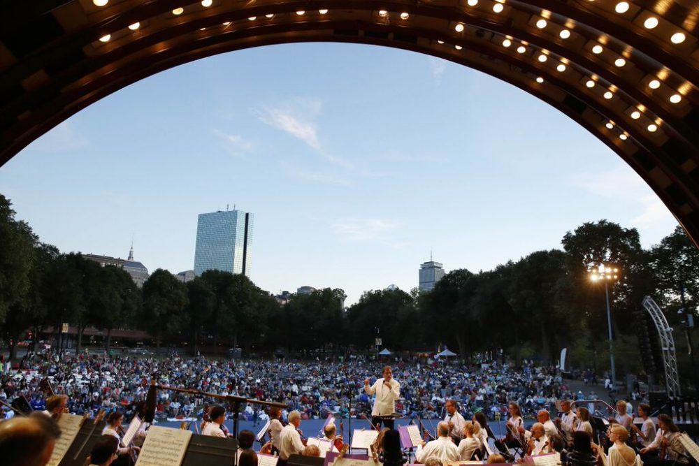 Boston Landmarks Orchestra perform during a summer concert at the Hatch Shell. (Michael Dwyer)