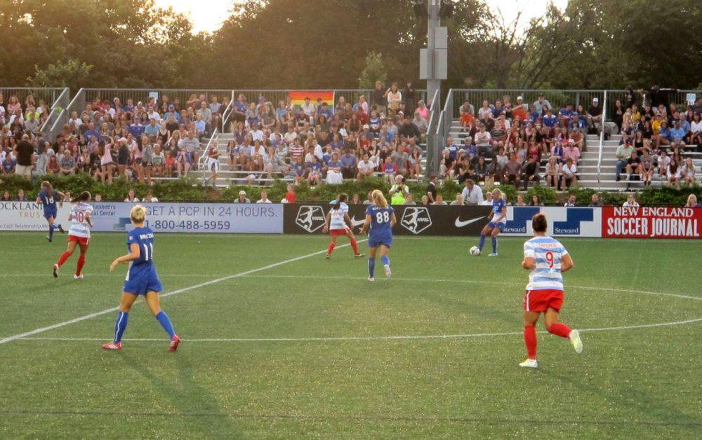 More than 3,400 fans attended last week's NWSL matchup between the Boston Breakers and Chicago Red Stars -- a record crowd for the Breakers this season. (Martin Kessler/WBUR)
