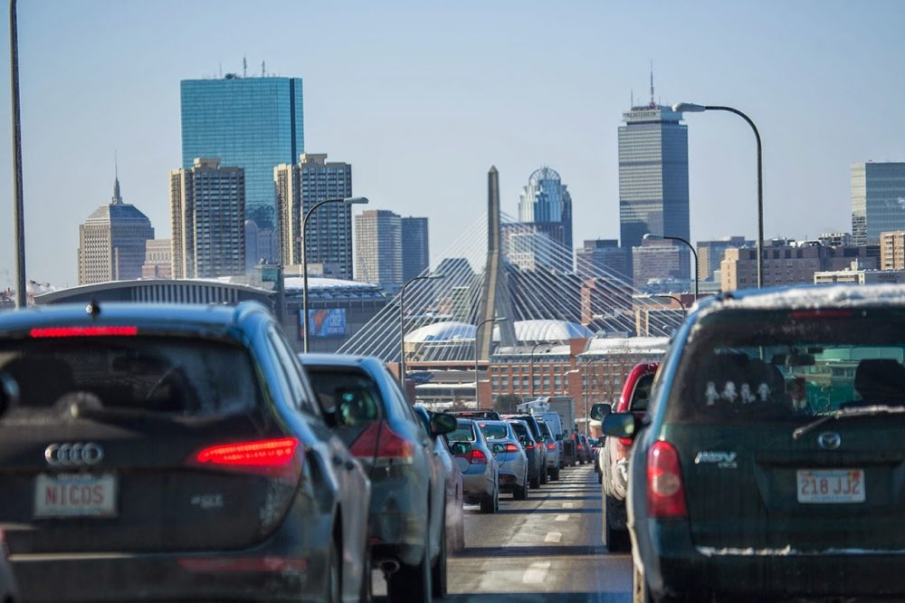 The Boston area ranks sixth for gridlock-plagued commutes in 2014. Here's morning traffic on Route 1 into Boston in February. (Jesse Costa/WBUR)