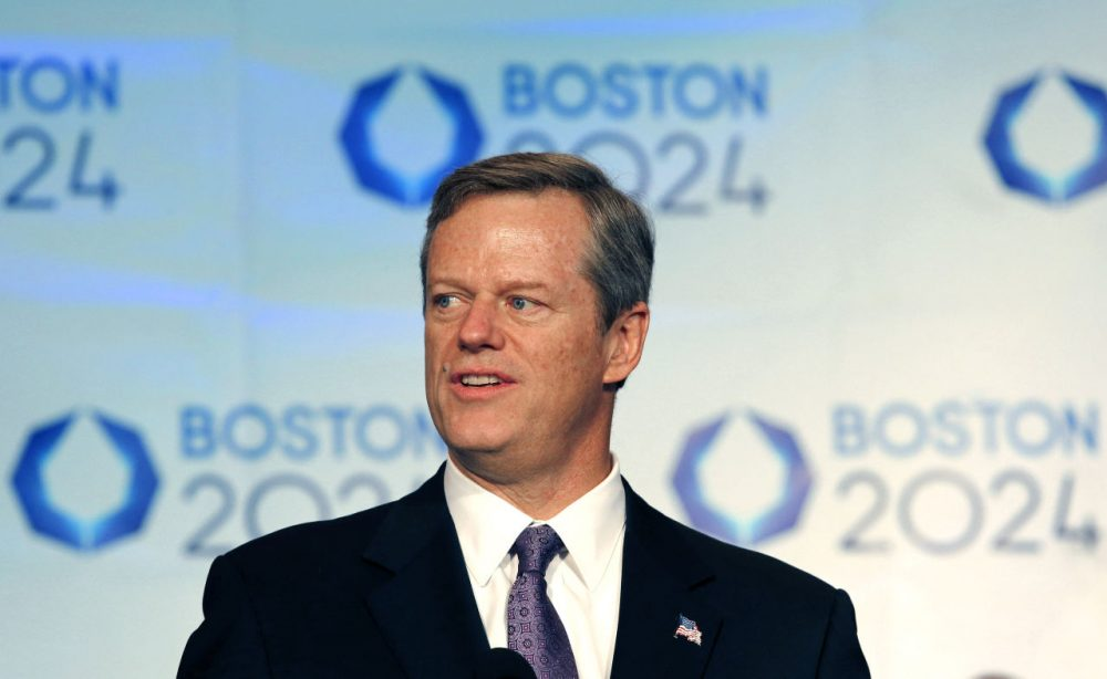 Gov. Charlie Baker speaks in January after Boston was picked by the USOC as its bid city. (Winslow Townson/AP)