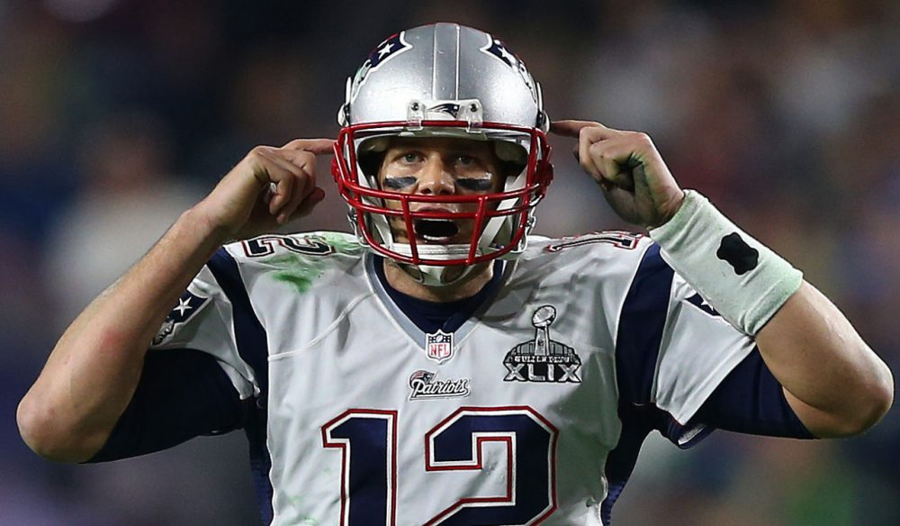 Tom Brady reacts during the Super Bowl. (Elsa/Getty Images)