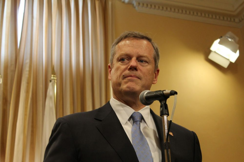 Gov. Charlie Baker speaks at a press conference at the State House. (State House News Service)