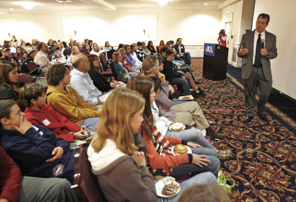 During a 2008 conference in Vermont, students listen to the father of a boy who died by suicide after being bullied online. A recent study finds that cyberbullying in the Boston-area is on the rise. (Toby Talbot/AP)