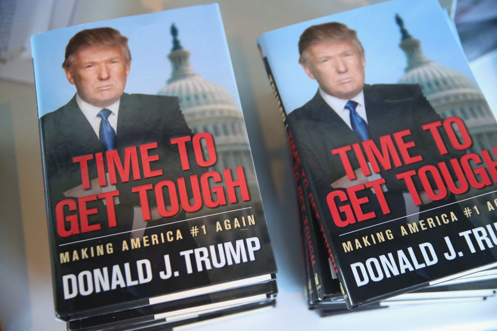 """One of Donald Trump's books, """"Time to Get Tough"""" for sale at The Family Leadership Summit on July 18, 2015 in Ames, Iowa. (Scott Olson/Getty Images)"""