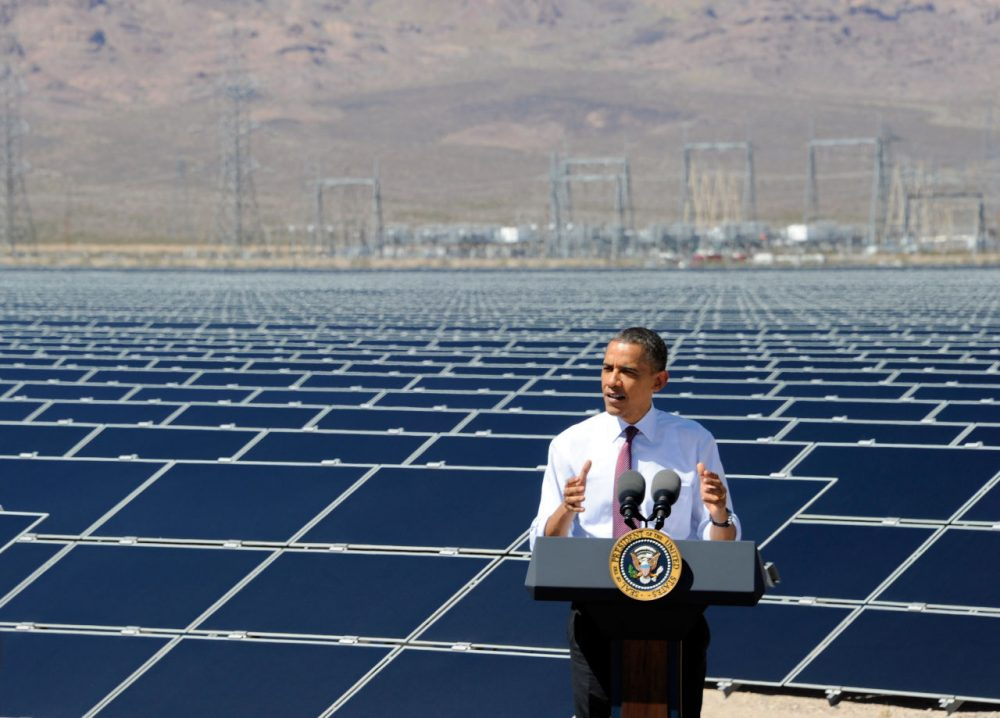 President Obama speaks at Sempra U.S. Gas & Power's Copper Mountain Solar 1 facility, the largest photovoltaic solar plant in the United States in 2012 in Boulder City, Nevada. (Ethan Miller/Getty Images)
