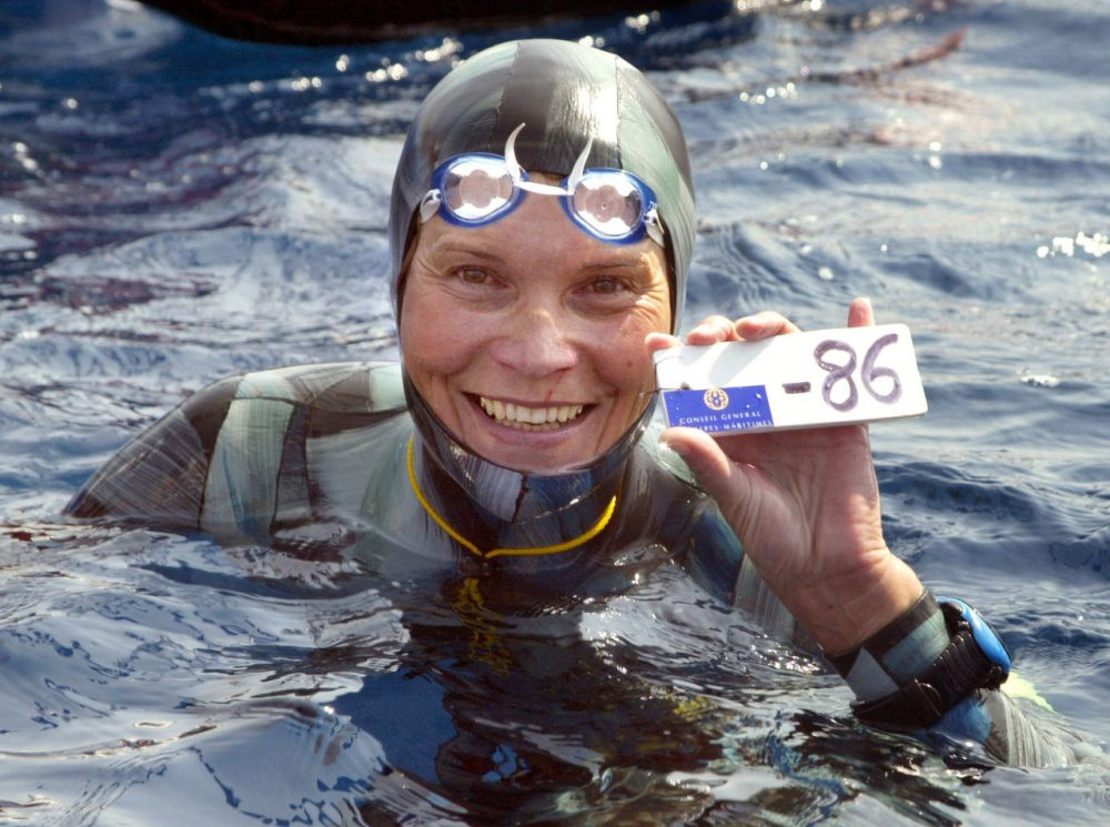 Russian Natalia Molchanova shows the minus 86 metres tag that gave her a win in the first women's free-diving world championship on September 3, 2005 in Villefranche-sur-Mer. Molchanova retained her world champion status. (Jacques Munch/AFP/Getty Images)