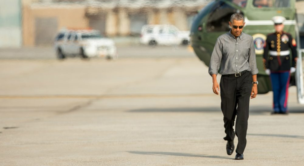 """Janna Malamud Smith: How can you feel a part of the everyday world if highways close for you to pass?In this photo, President Obama walks across the tarmac to board Air Force One at JFK International Airport in New York on July 18. Obama spent a mainly personal weekend with his daughters in New York City, visiting Central Park, the Whitney Museum of American Art and a performance of """"Hamilton"""" at Richard Rodgers Theatre in Time Square, among other locations. (Andrew Harnik/AP)"""