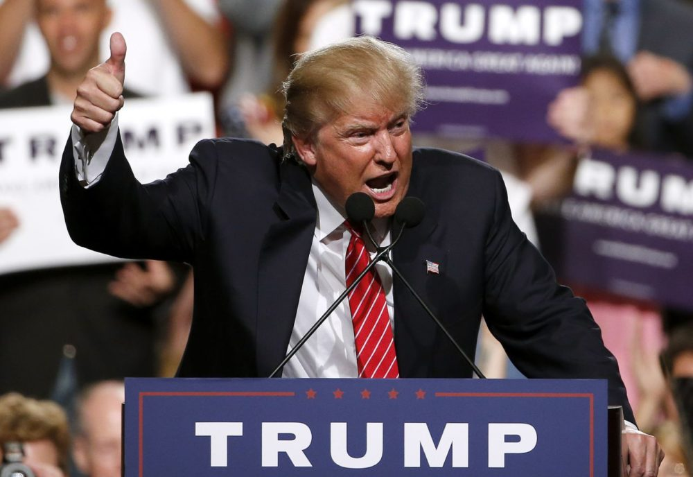 Republican presidential candidate Donald Trump finishes up speaking before a crowd of 3,500 in July in Phoenix. (Ross D. Franklin/AP)