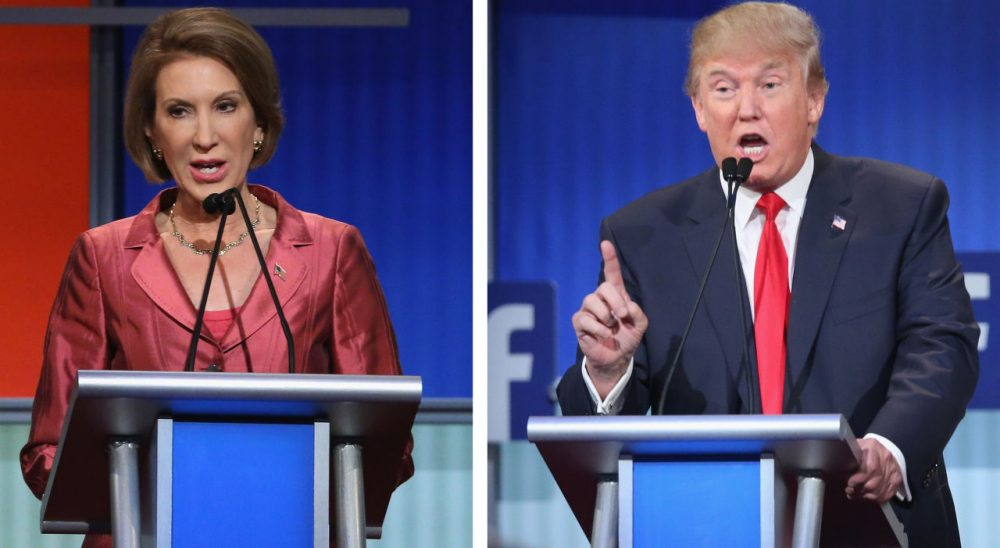 Former Hewlett Packard CEO Carly Fiorina and real estate mogul Donald Trump are dominating the headlines today after their performances in their respective debates Thursday night. (Chip Somodevilla/Scott Olson/Getty Images)