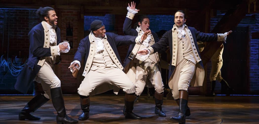 "Daveed Diggs, Okieriete Onaodowan, Anthony Ramos and Lin-Manuel Miranda in ""Hamilton."" (Joan Marcus)"