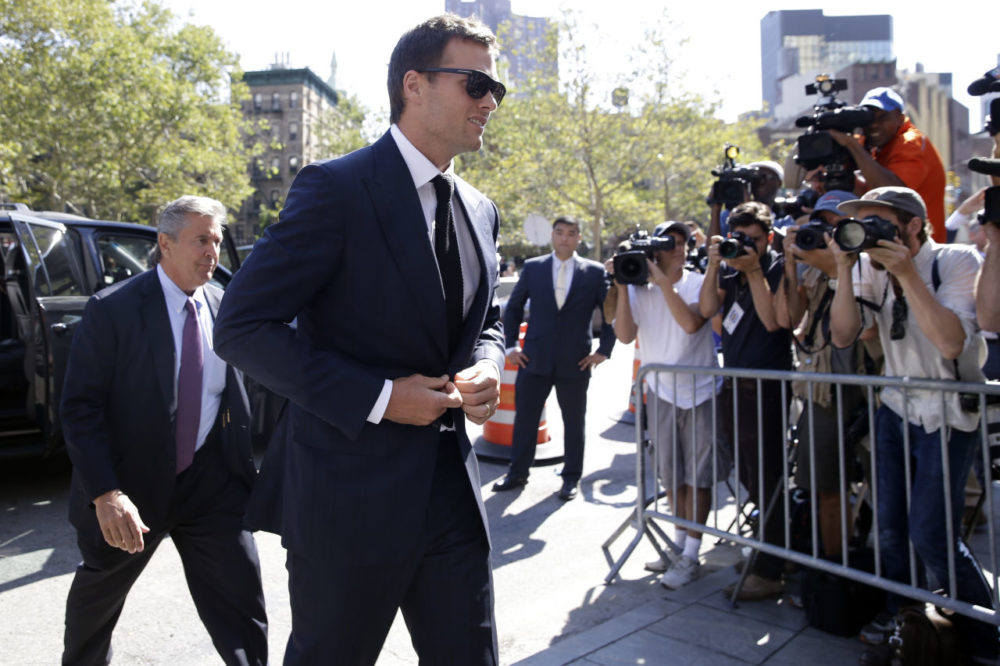 New England Patriots quarterback Tom Brady arrives at federal court, Wednesday, Aug. 12, 2015, in New York. Brady and NFL Commissioner Roger Goodell are set to explain to a judge why a controversy over underinflated footballs at last season's AFC conference championship game is spilling into a new season. (Mary Altaffer/AP)