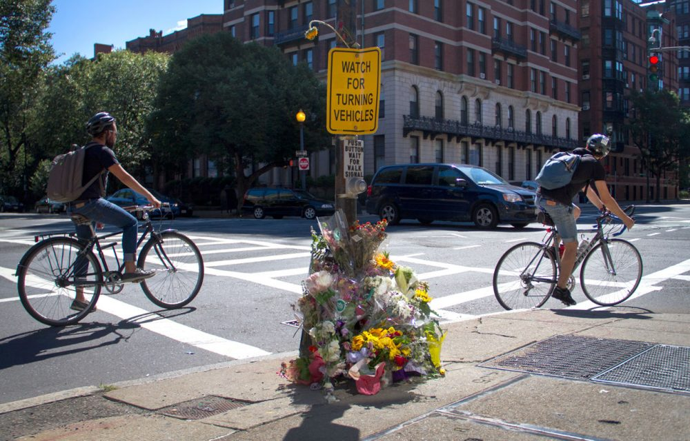 "The road sign at the intersection of the fatal crash reads, ""Watch for Turning Vehicles."" (Hadley Green for WBUR)"