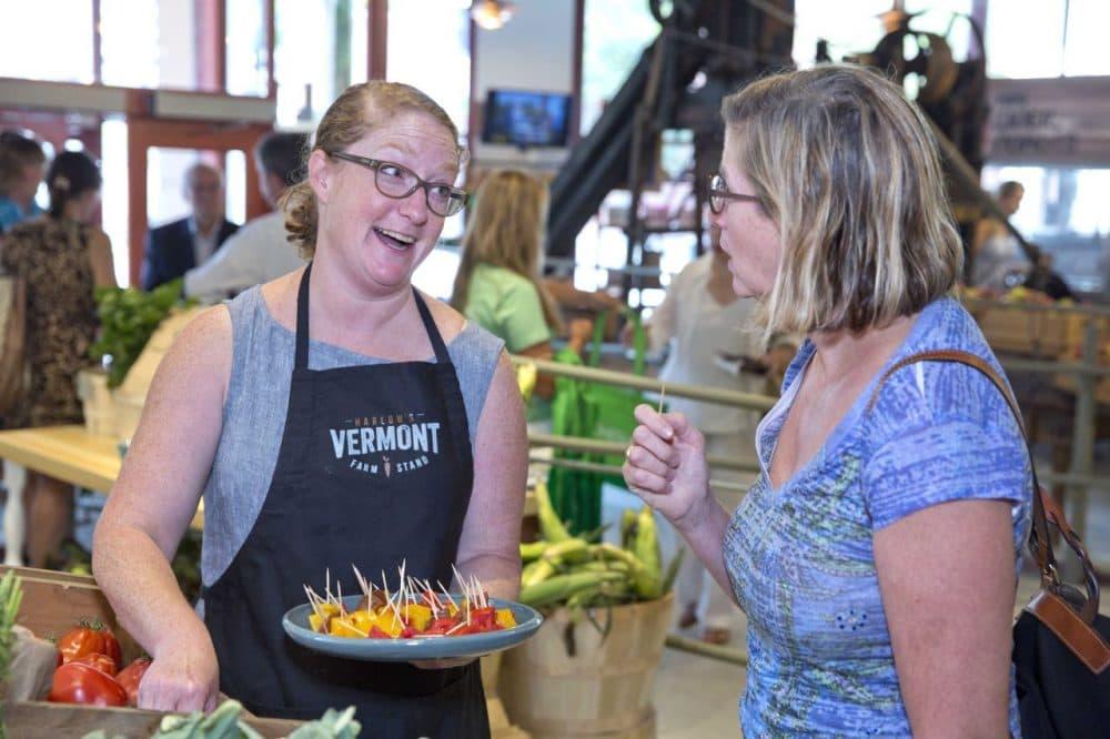 Karyn Coughlin from Harlow Farm offering samples at the Boston Public Market (Courtesy Boston Public Market)