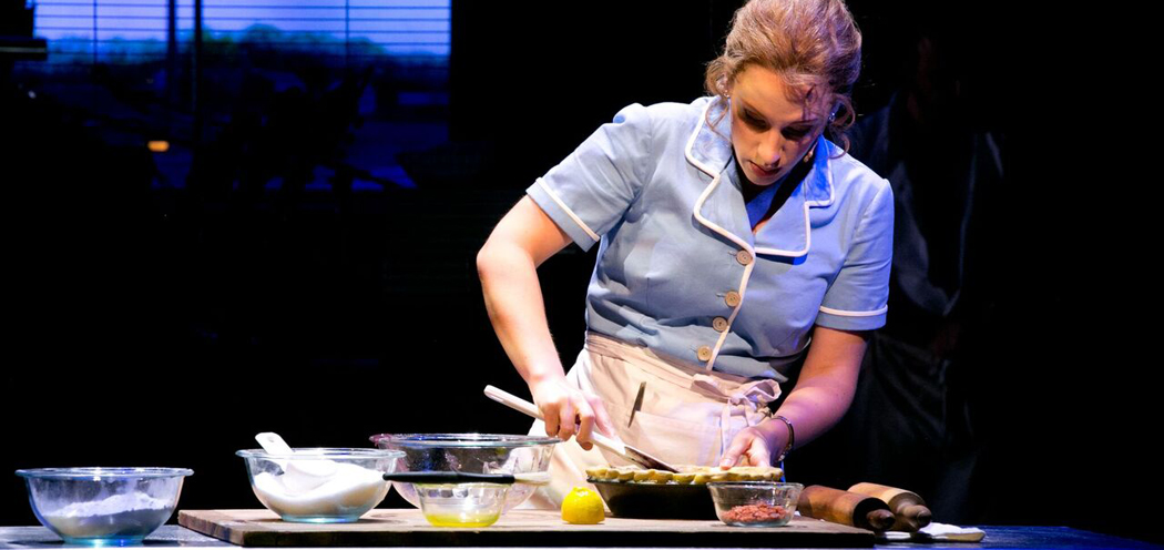 Jessie Mueller makes a pie on stage. (Evgenia Eliseeva/American Repertory Theater)