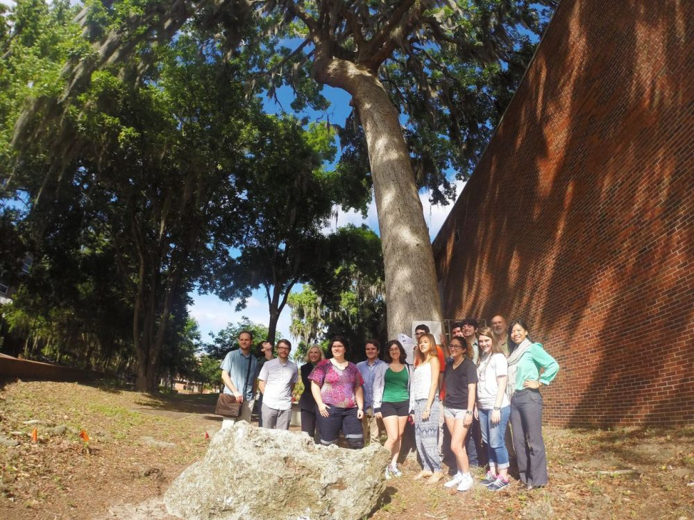 """Students gather under """"Bert"""" in support of keeping the bluff oak on the University of Florida campus. (Facebook)"""