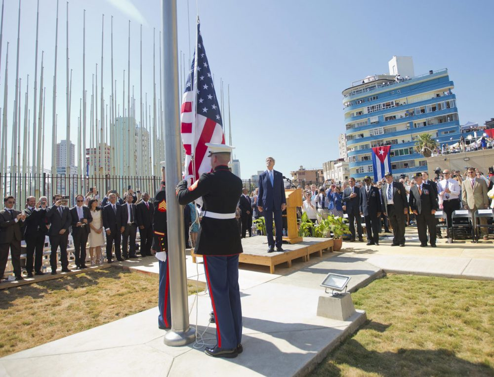 Secretary of State John Kerry, and other dignitaries watch as U.S. Marines raise the U.S. flag over the newly reopened embassy in Havana, Cuba this morning. Kerry traveled to the Cuban capital to raise the U.S. flag and formally reopen the long-closed U.S. Embassy. Cuba and U.S. officially restored diplomatic relations July 20, as part of efforts to normalize ties between the former Cold War foes. (Martinez Monsivais/AP)