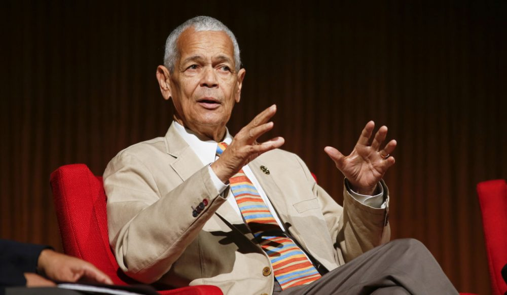 "Former NAACP chairman Julian Bond takes part in the ""Heroes of the Civil Rights Movement"" panel during the Civil Rights Summit on Wednesday, April 9, 2014, in Austin, Texas. (Jack Plunkett/AP)"