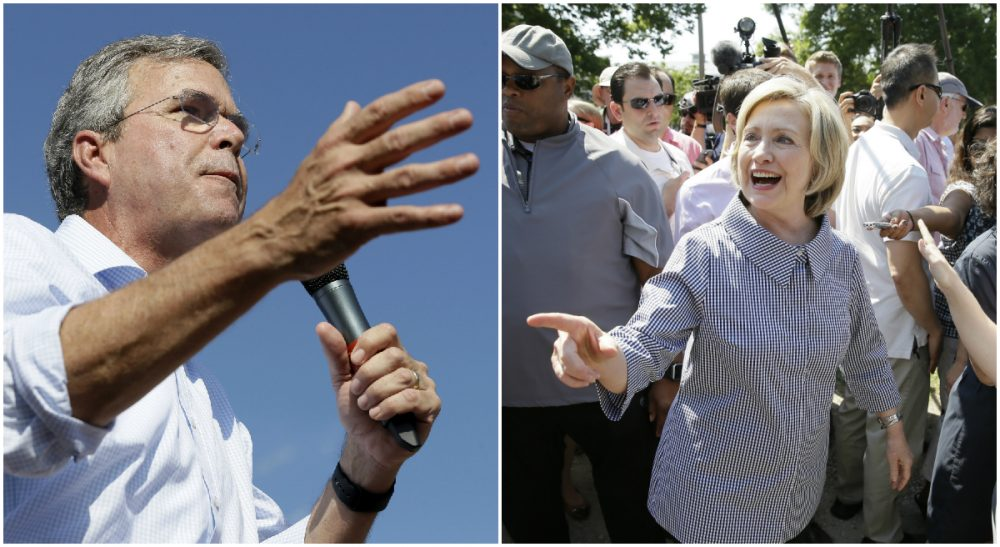 Republican Jeb Bush, pictured at left, suggested last week that the Obama administration's foreign policy decisions in Iraq set the stage for ISIS. Not so, says Rich Barlow. In this photo, Bush and Democrat Hillary Rodham Clinton are pictured at the Iowa State Fair on Aug. 15 and Aug. 14, 2015, respectively. (Both photos by Charlie Neibergall/AP)