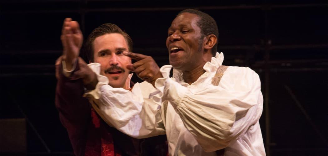 "Joe Tapper as Pierre Laporte and John Douglas Thompson as Ira Aldridge in Shakespeare & Company's production of ""Red Velvet."" (Enrico Spada)"