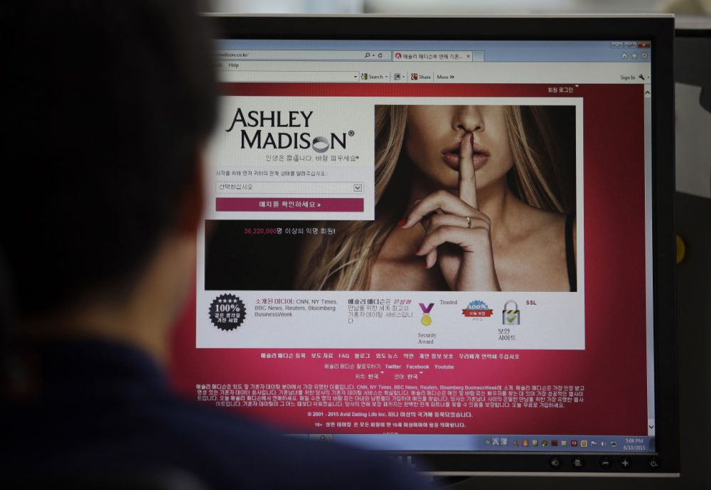 A June 10, 2015, photo shows Ashley Madison's website on a computer screen in Seoul, South Korea. (Lee Jin-man/AP)