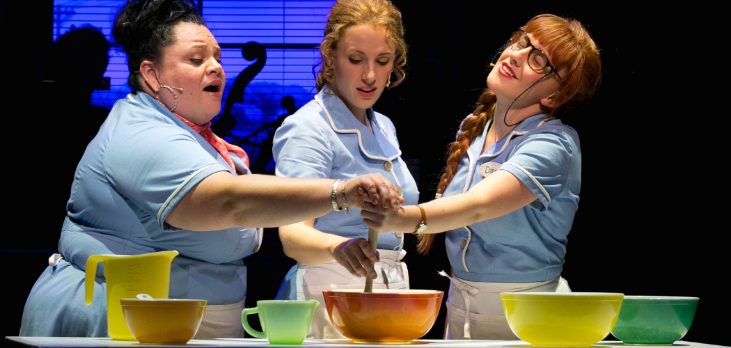 "Keala Settle, Jessie Mueller and Jeanna de Waal in the American Repertory Theater's production of ""Waitress."" (Evgenia Eliseeva/American Repertory Theater)"