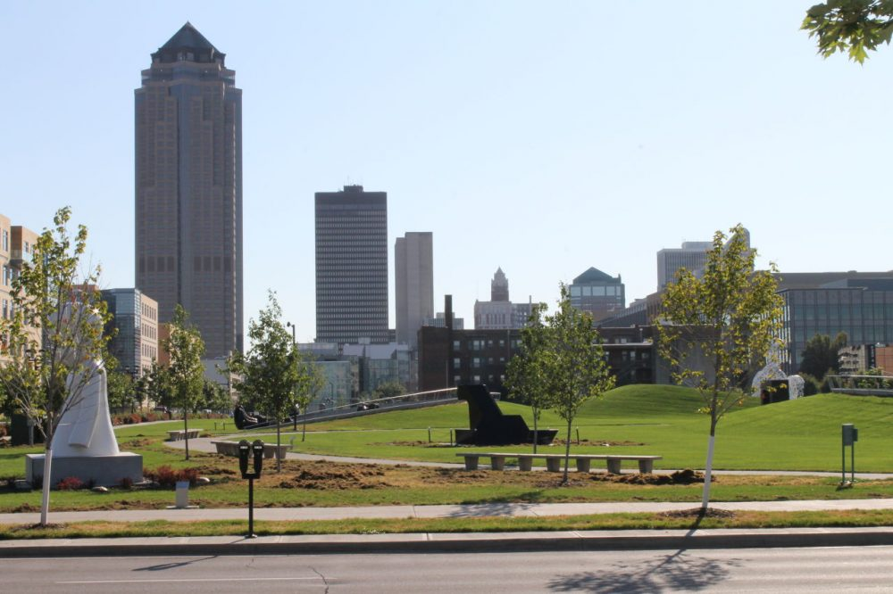 The Pappajohn Sculpture Park in Des Moines' Western Gateway Park plays host to the Des Moines Arts Festival. (Dsmspence/Wikimedia Commons)