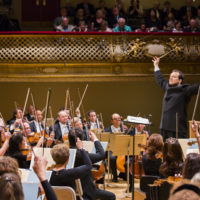 In this photo from 2014, Andris Nelson conducts the Boston Symphony Orchestra in his inaugural concert as music director. (Courtesy Chris Lee/Boston Symphony Orchestra)