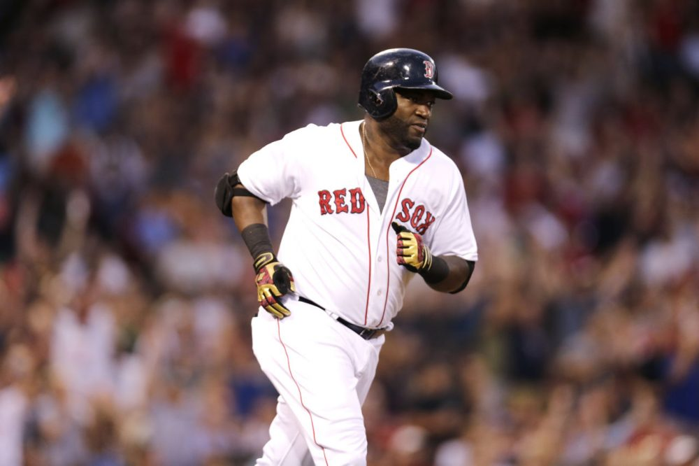 Red Sox designated hitter David Ortiz rounds the bases on his solo home run in the second inning of a game at Fenway, Wednesday, Aug. 19, 2015. (Charles Krupa/AP)