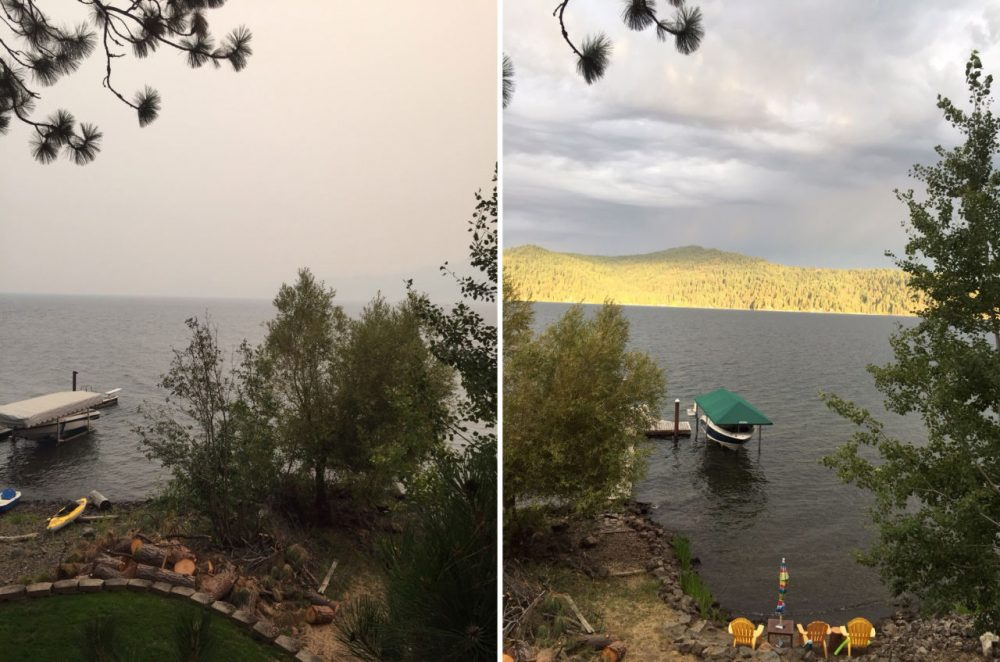 Wildfire smoke obscures the view in this photo taken yesterday of Lake Coeur d'Alene in the Idaho panhandle, about 35 miles from Spokane, Washington. The photo on the right was taken from the same spot in June. (Mary O'Dowd)